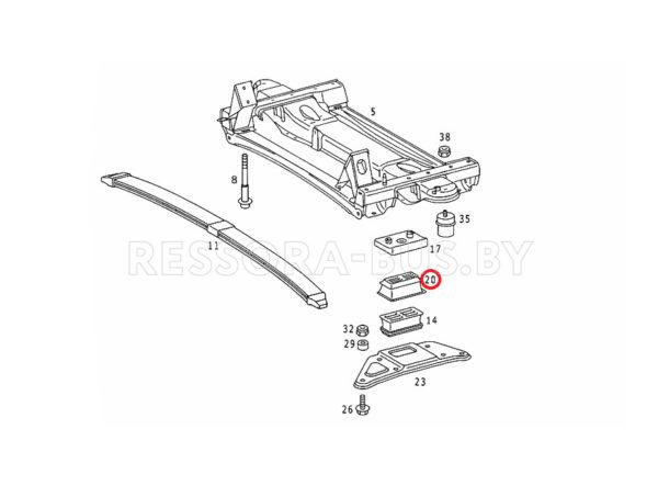 Подушка перед. рессоры (1л Metall) Sprinter 96- верх L+R