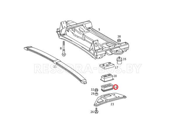 Подушка перед. рессоры (1л Metall) Sprinter 96- низ. L
