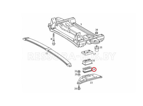 Подушка перед. рессоры (1л Metall) Sprinter 96- низ. R
