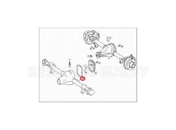 Прокладка крышки корпуса заднего редуктора Mercedes Sprinter / Volkswagen Crafter 2006-